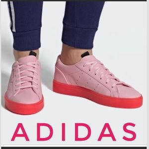 Authentic Adidas sleek pink leather sneakers 8.5